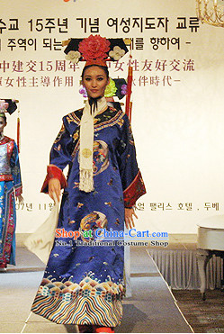 Qing Dynasty Princess Phoenix Robe and Hat Complete Set