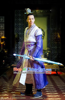 Chinese Swordsman Cosplay Costumes and Headwear