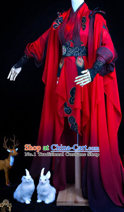 Chinese Traditional Red Swordswoman Cosplay Costumes Complete Set