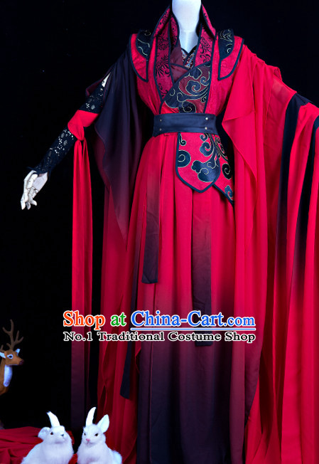 Chinese Red General Hanfu Cosplay Costumes Complete Set