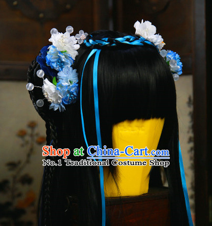 Chinese Princess Black Hair Wig and Hair Accessories