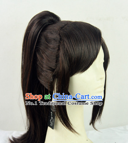 Traditional Chinese Swordsman Brown Colour Hair Wigs