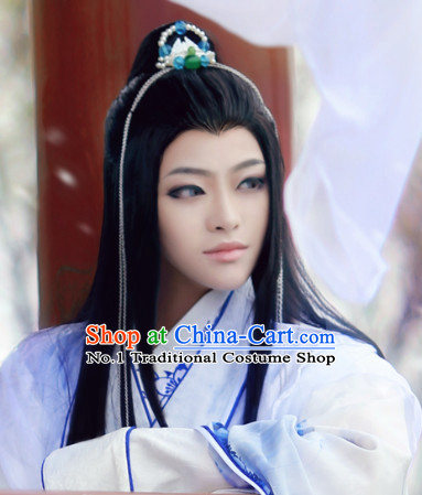 Chinese Traditional Swordsman Black Colour Hair Wigs