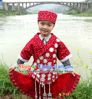 China Hmong Miao Ethnic Clothing and Hat for Children