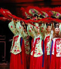 National Costume of Korea Korean Fan Dance Costumes and Headwear for Women