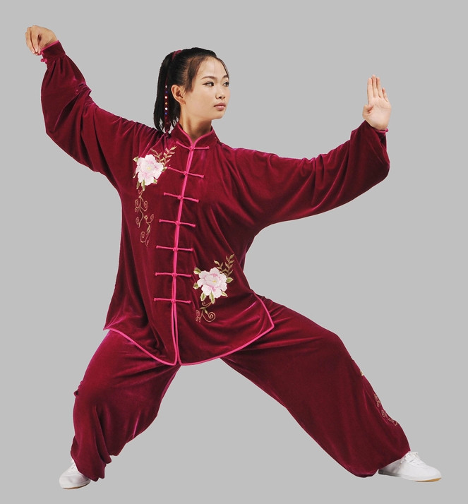 China Red Top Velvet Embroidery Kung Fu Pants and Blouse Complete Set for Women
