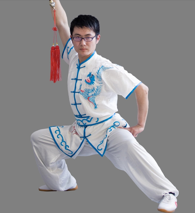 Top Chinese Classical Dragon Embroidery Short Sleeves Wushu Suit