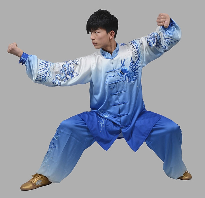 Top Color Transition Kung Fu Martial Arts Dress and Mantle Complete Set