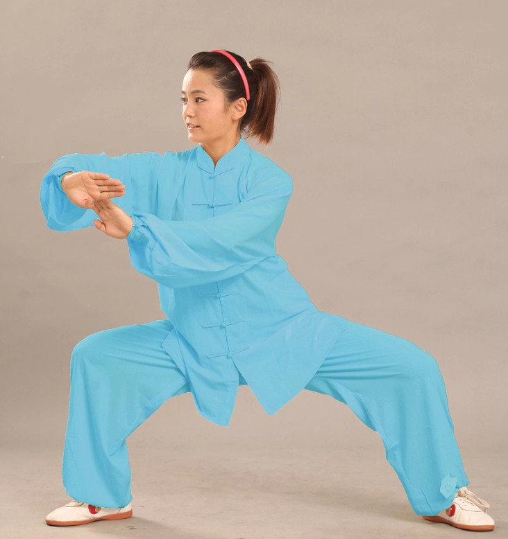 Blue Long Sleeves Flax Martial Arts Practice Suit