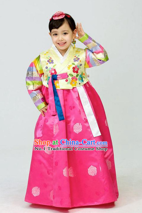 Traditional Korean Clothing Custom Made Kids Hanbok Dangui Chima Hair Accessory Norigae Petticoat