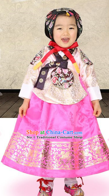 Top Korean Traditional Custom Made Birthday Hanbok Complete Set for Children