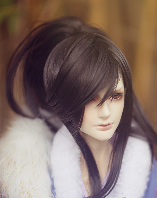 Chinese Traditional White Long Wig for Men