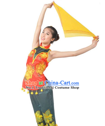 Asian Fashion Chinese Handkerchief Dance Costumes for Ethnic Women
