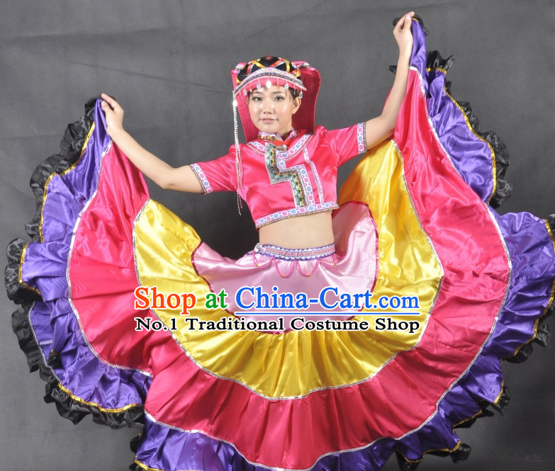 Yi Gui Zhou Ethnic China Nationality Group Dance Costumes for Women