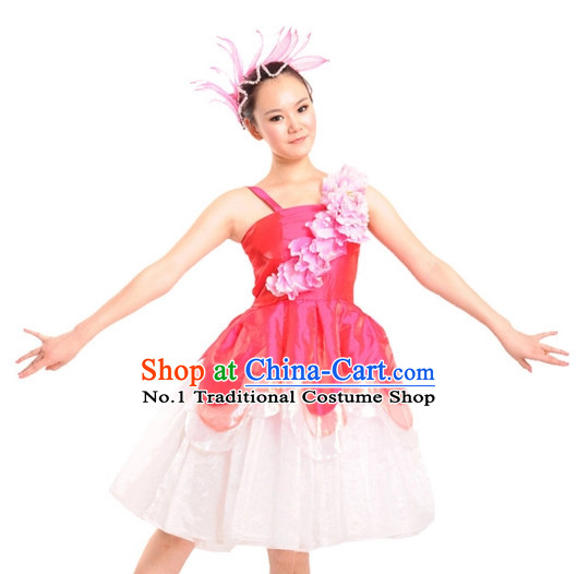 China Shop Chinese Flower Dance Costumes Dancewear Complete Set for Women