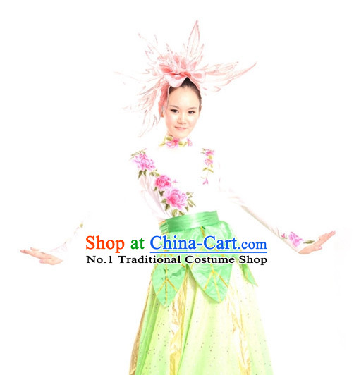 China Shop Chinese Flower Dance Costumes Girls Dancewear Complete Set for Women