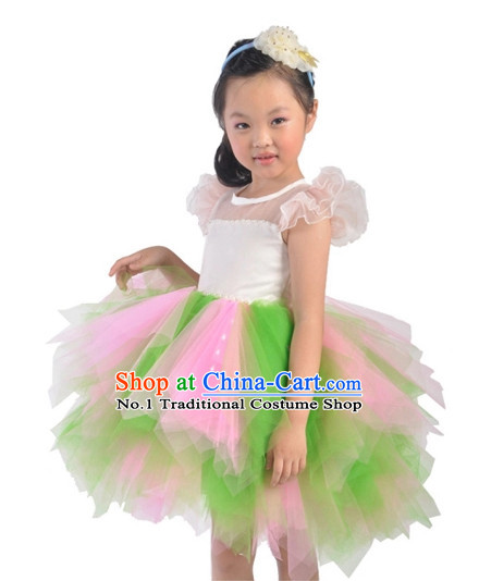 Custom Made Chinese Kids Dance Costumes Ballerina Costume Burlesque Costumes Salsa Costumes