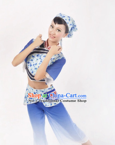 Custom Made Asian Female Worker Dance Costume Complete Set
