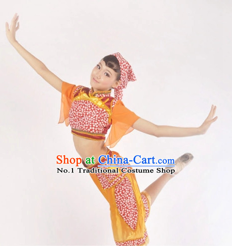 Custom Made Asian Folk Dance Costume Complete Set