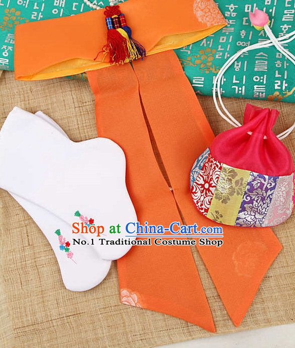 Korean Traditional Kids Birthday Sock Bag and Hat Set