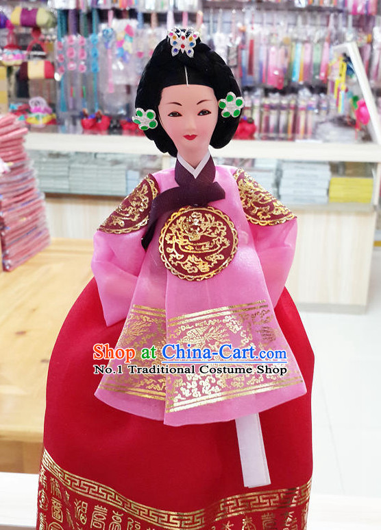 Korean Traditional Imperial Empress Silk Figurine Doll Arts