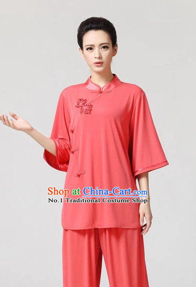 Plain Color Asian Professional Tai Chi Short Sleeved Uniform