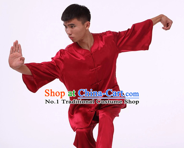 Plain Red Color Top Asian China Tai Chi Short Sleeves Uniform for Men