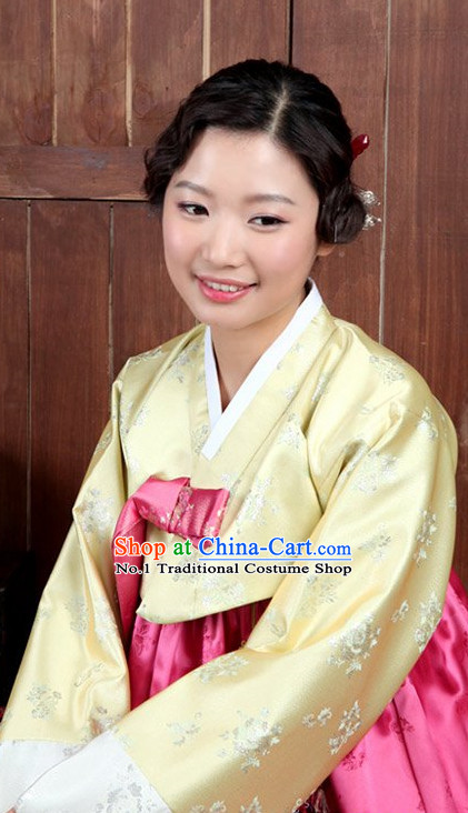 Top Korean Traditional Hanbok Birthday Ceremonial Clothing Complete Set for Women