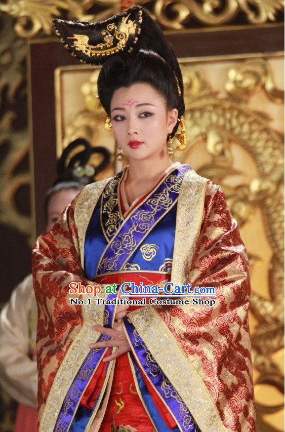 Tang Dynasty China Ancient Female Emperor Wu Zetian Costumes and Hair Accessories Complete Set