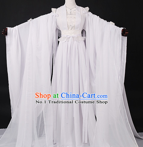 Chinese Pure White Prince Hanfu Cosplay Halloween Costumes Carnival Costumes for Men