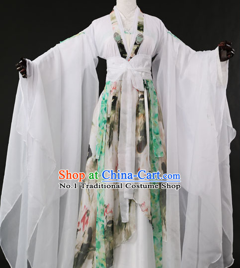 Chinese Pure White Romantic Wedding Gowns Hanfu Costumes Halloween Costumes for Women