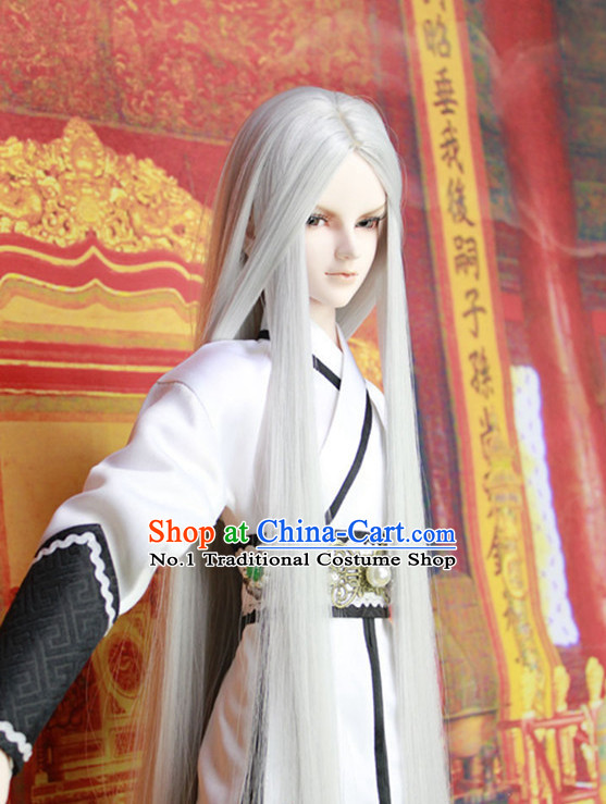 China Civilization Chinese Kimono Costume and White Long Wig for Men