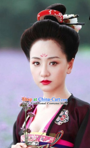 Tang Dynasty Style Chinese Female Black Wig Hair Accessories Hair Jewelry