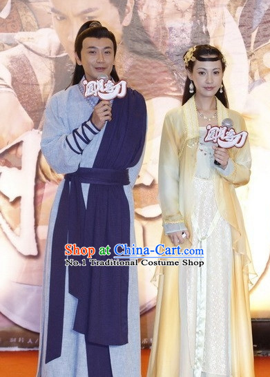 China Fighter Costumes Civilization Chinese Kimono Costume and Hair Bands Complete Set for Men