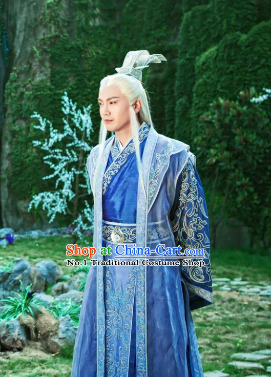 Chinese Kung Fu Master Costumes China Civilization and Hair Jewelry Complete Set for Men