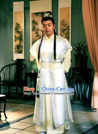 Chinese Ancient Swordman Style Costumes and Hair Jewelry Complete Set for Men