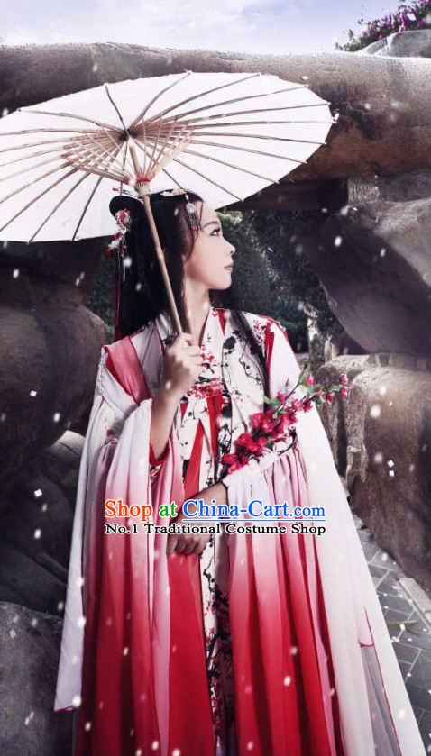 Chinese Fairy Costumes Asian Fashion Bridal Red Costumes and Hair Jewelry Complete Set for Women