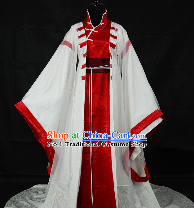 Chinese White Kung Fu Master Costumes Asian Fashion Complete Set for Men