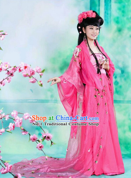 Chinese Princess Costumes Asian Fashion and Hair Decorations Complete Set for Women