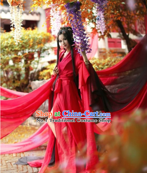 Chinese Red Hanfu Costume Asian Fashion China Civilization Medieval Costumes Carnival Costume