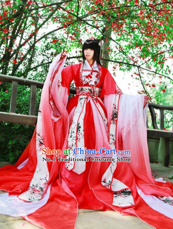Red Chinese Plum Blossom Princess Cosplay Costumes Asian Fashion Complete Set for Women