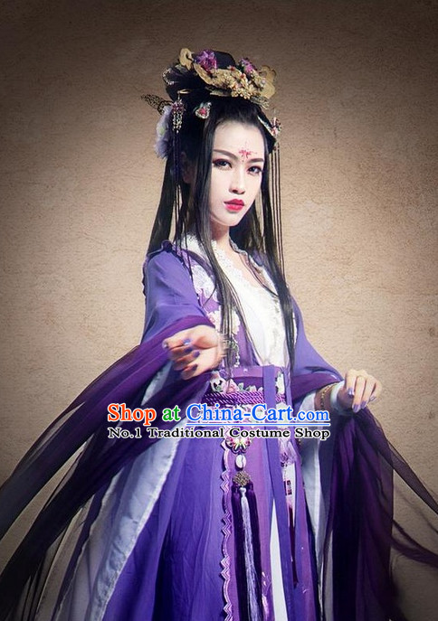 Asian Fashion Chinese Purple Princess Clothes and Hair Jewelry Complete Set for Women