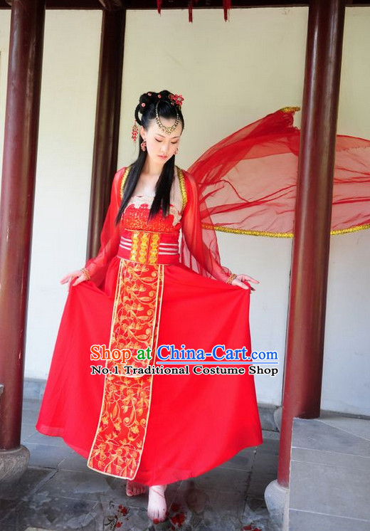 Asian Fashion Chinese Red Beauty Hanfu Clothing Complete Set for Women