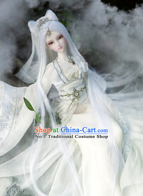 Asian Fashion Chinese White Empress Costumes Hanfu Dresses Complete Set for Women