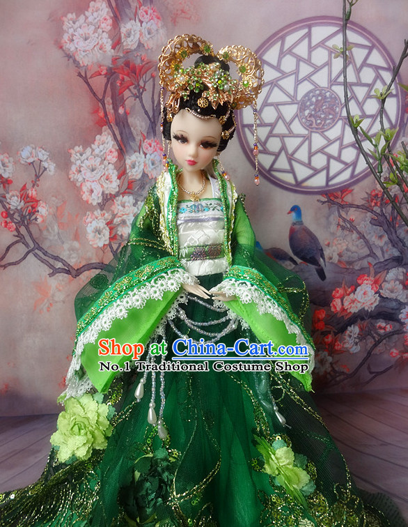 Asia Fashion China Civilization Chinese Green Hanfu Robe Complete Set