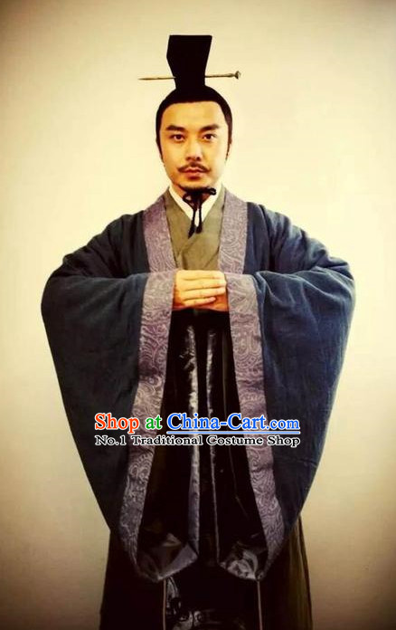 Asia Fashion China Civilization Chinese Male Hanfu Costumes and Coronet Complete Set