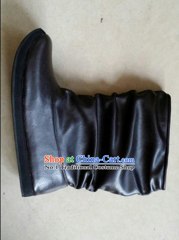 Handmade Chinese Traditional Ancient Swordman Men Black Leather Boots Footwear