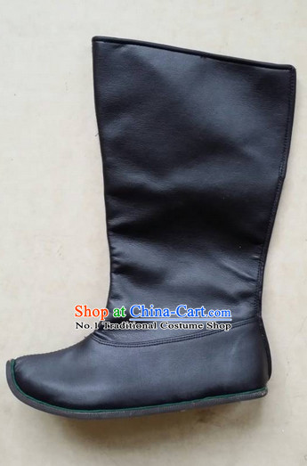 Handmade Chinese Traditional Black Ladies Leather Boots Footwear