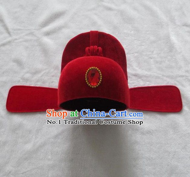 Lucky Red Asian Fashion Oriental Wedding Hat for Men