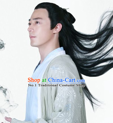 Chinese Traditional Long Black Wig for Men